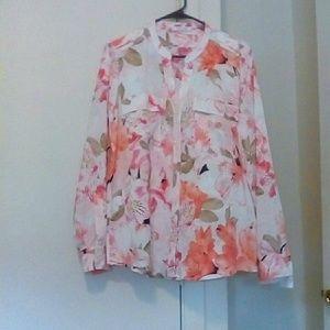 CALVIN KLEIN Floral Blouse, Size XL